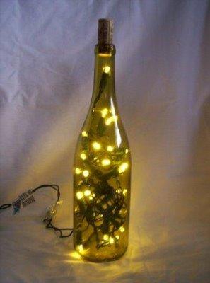 Green wine bottle lamp jezzbean for Lamps made out of wine bottles